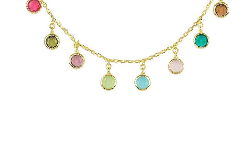 Florence Multi Coloured Gemstone Necklace Gold
