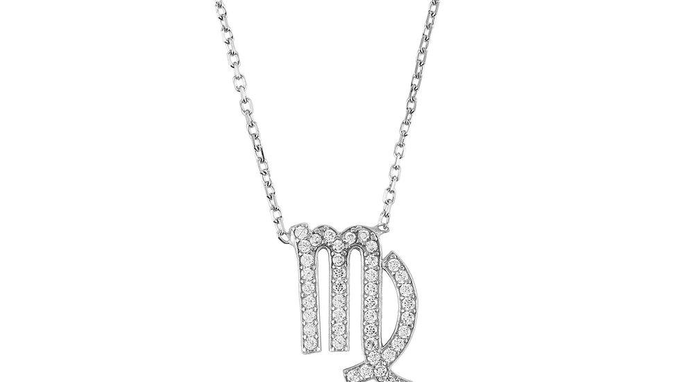 Zodiac Star Sign Pendant Necklace Silver Virgo
