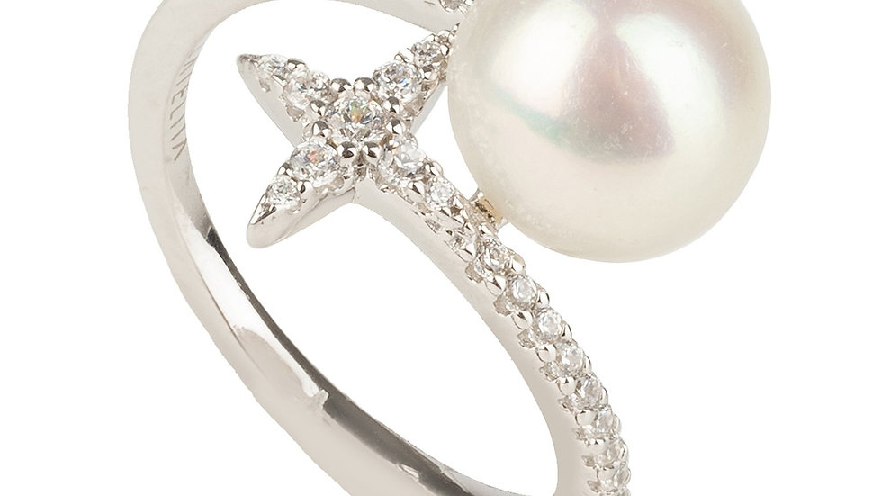 Ellie Star Pearl Ring White Silver