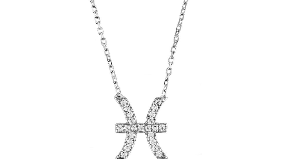Zodiac Star Sign Pendant Necklace Silver Pisces
