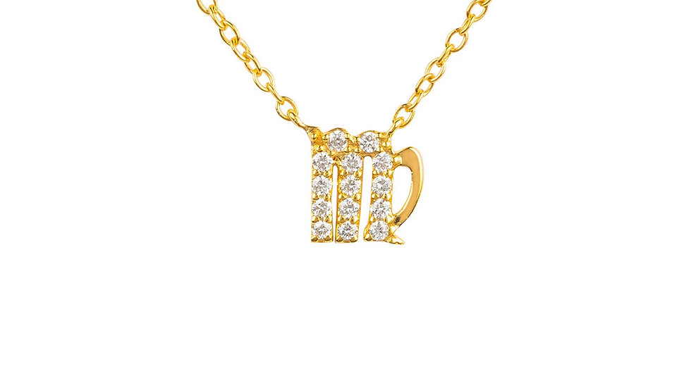 Diamond Zodiac Necklace Gold Virgo