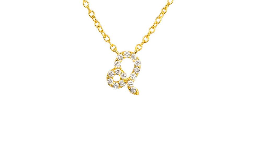 Diamond Zodiac Necklace Gold Leo