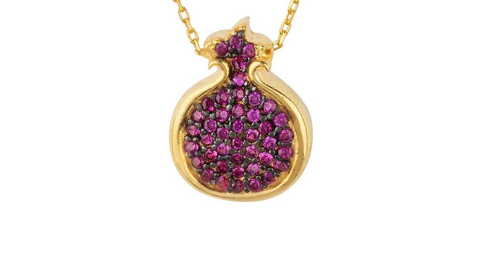Pomegranate Ruby Pink Pendant Necklace Gold