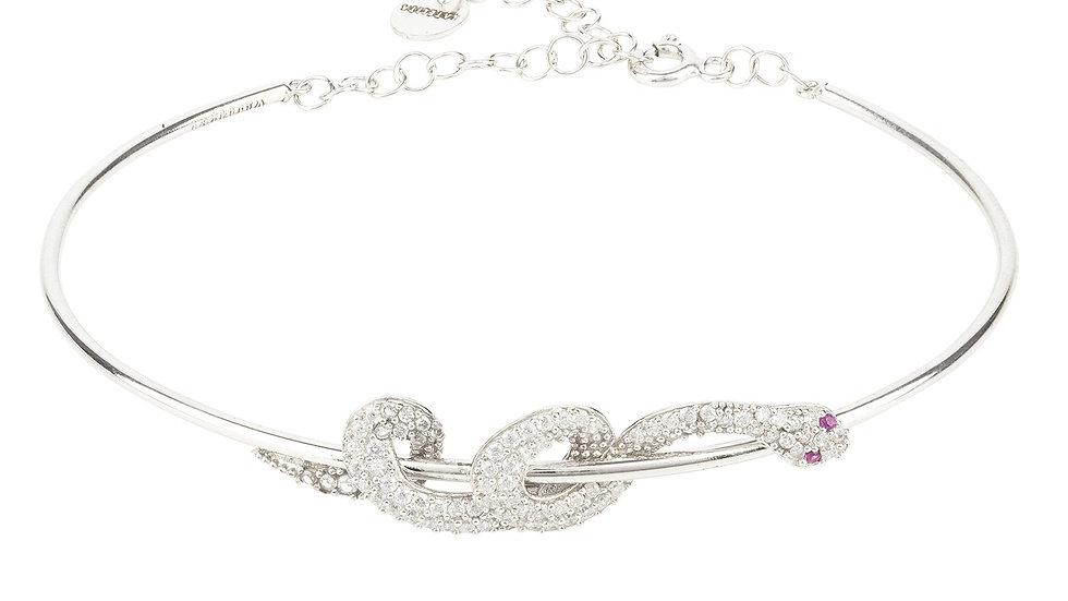Cleopatra Serpent Snake Bangle Bracelet Silver
