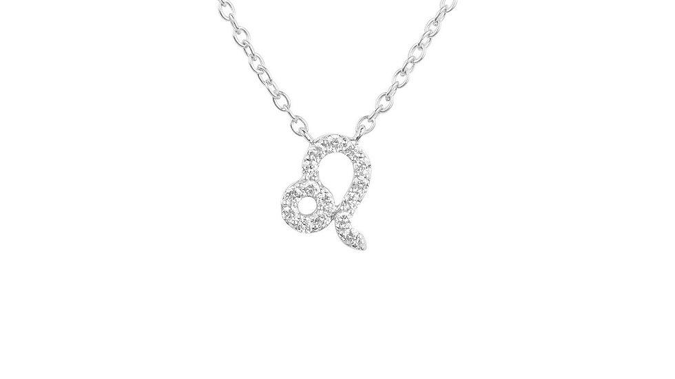 Diamond Zodiac Silver Necklace Leo