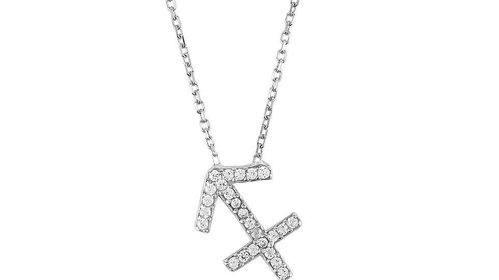 Zodiac Star Sign Pendant Necklace Silver Sagittarius