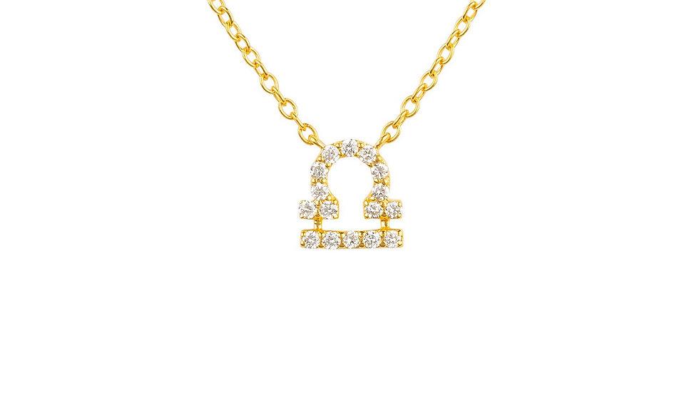 Diamond Zodiac Necklace Gold Libra