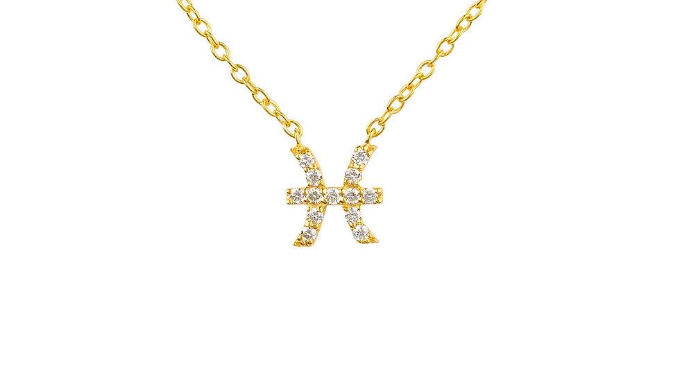 Diamond Zodiac Necklace Gold Pisces