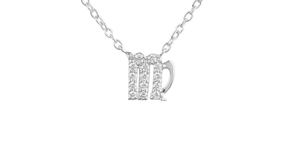 Diamond Zodiac Silver Necklace Virgo