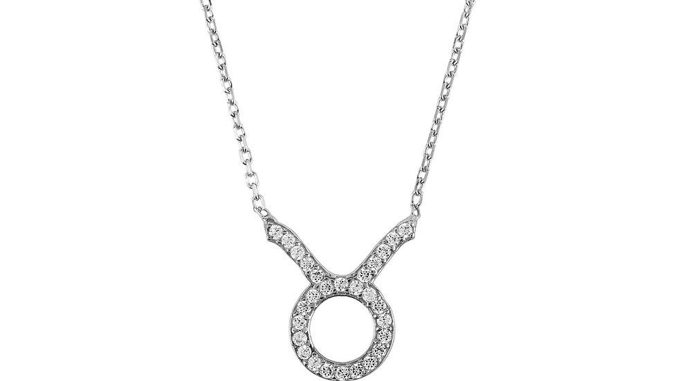 Zodiac Star Sign Pendant Necklace Silver Taurus