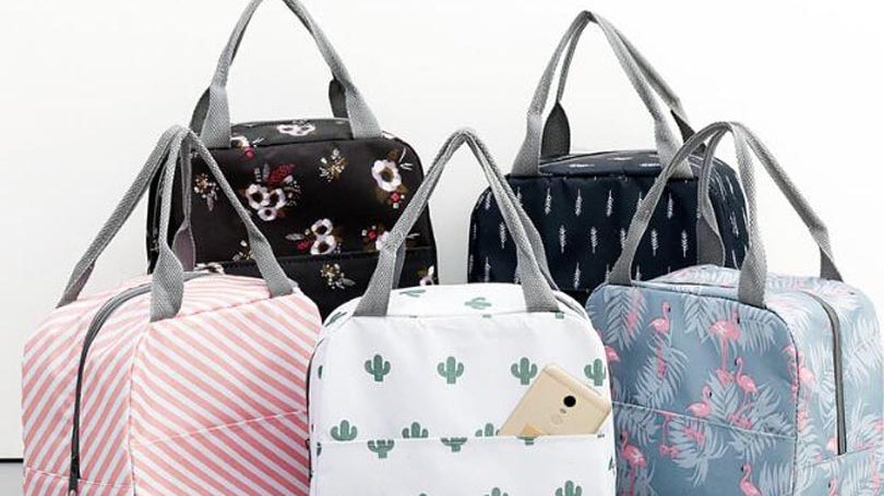 Functional Pattern Cooler Lunch Box Portable Insulated Canvas Lunch Bag
