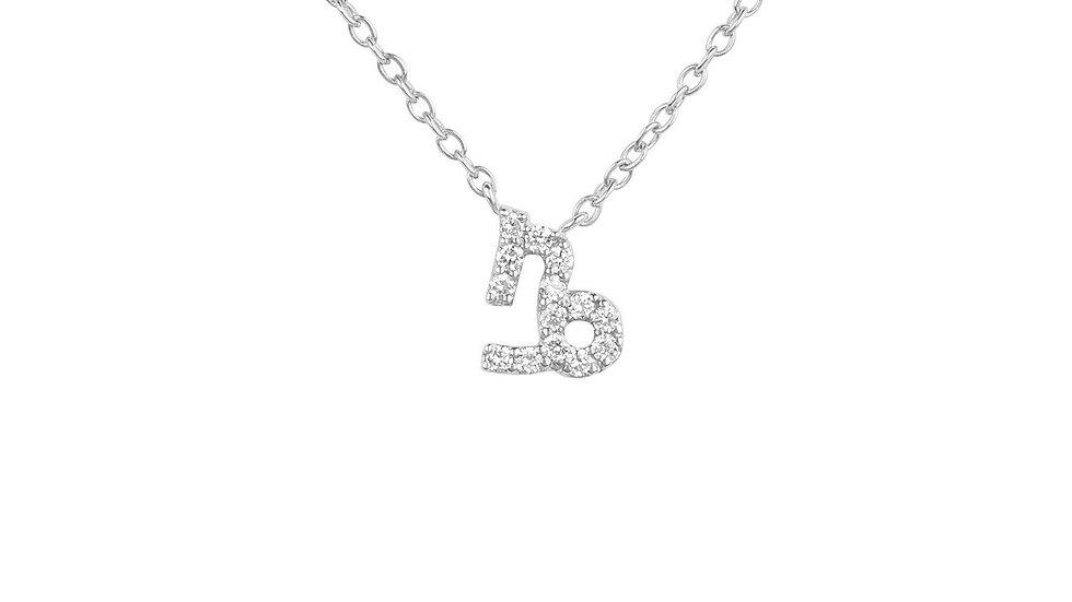 Diamond Zodiac Silver Necklace Capricorn