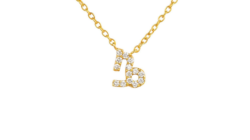Diamond Zodiac Necklace Gold Capricorn