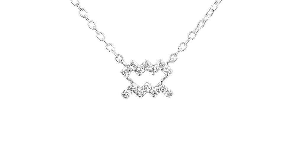 Diamond Zodiac Silver Necklace Aquarius