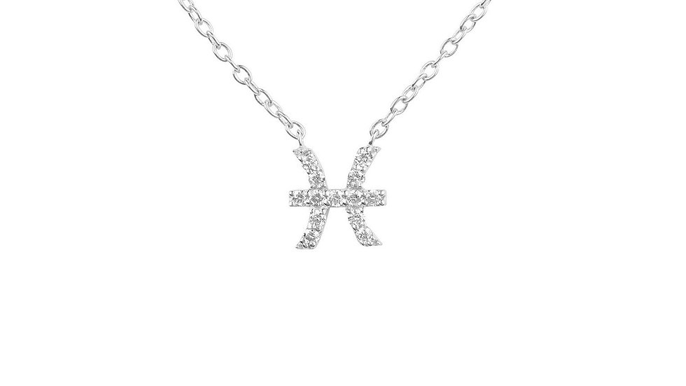 Diamond Zodiac Silver Necklace Pisces