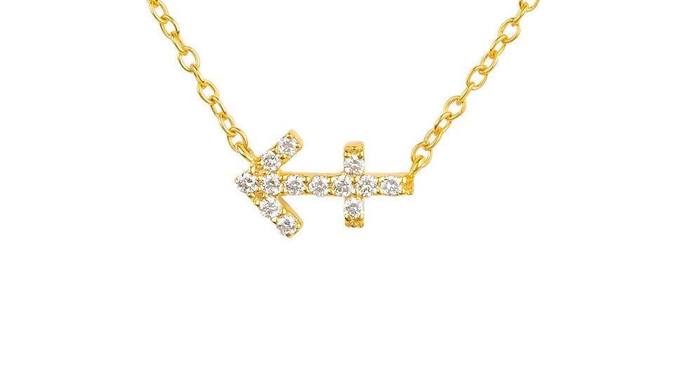Diamond Zodiac Necklace Gold Sagittarius