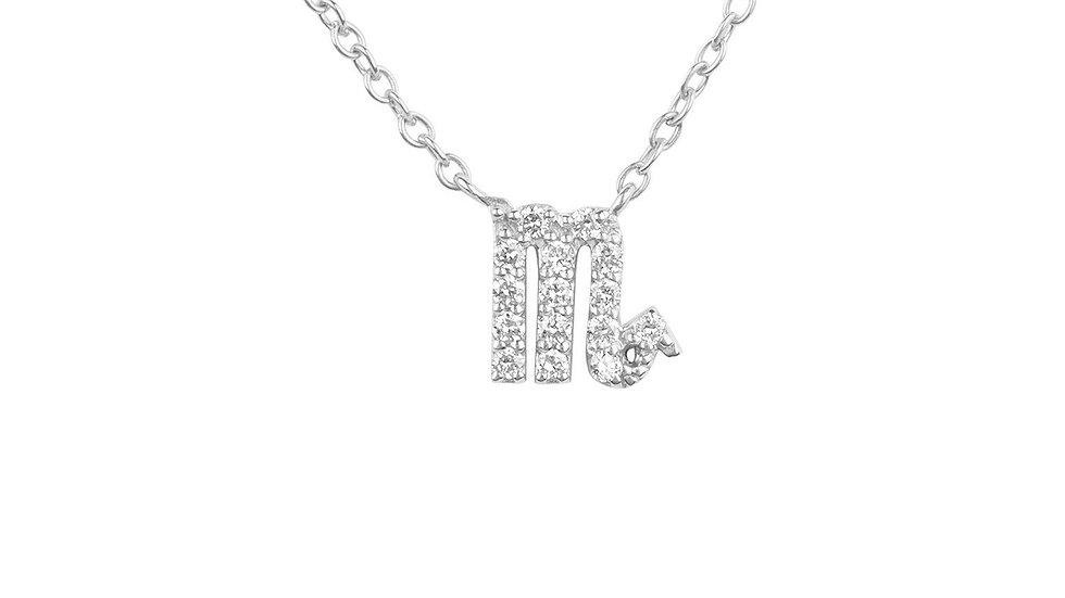 Diamond Zodiac Silver Necklace Scorpio