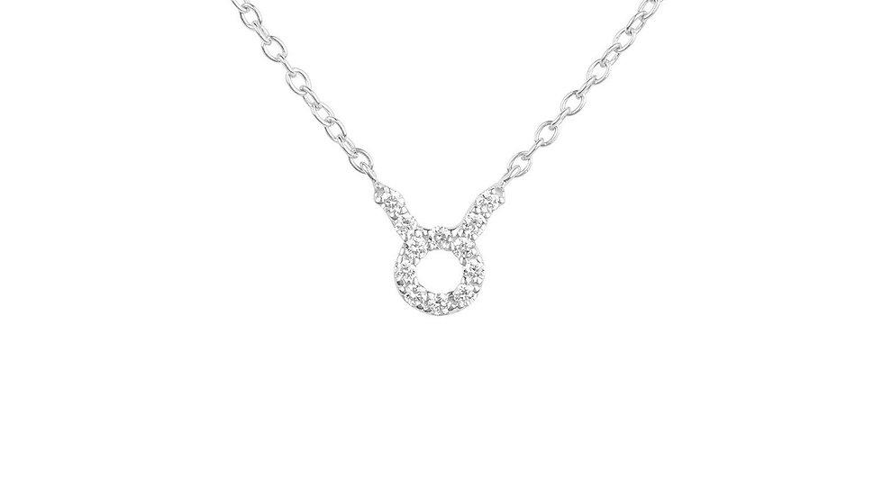 Diamond Zodiac Silver Necklace Taurus