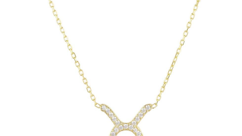 Zodiac Star Sign Pendant Necklace Gold Taurus