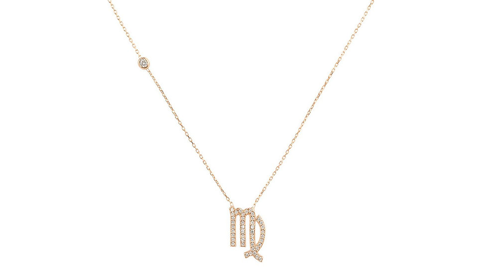 Zodiac Star Sign Pendant Necklace Rose Gold Virgo