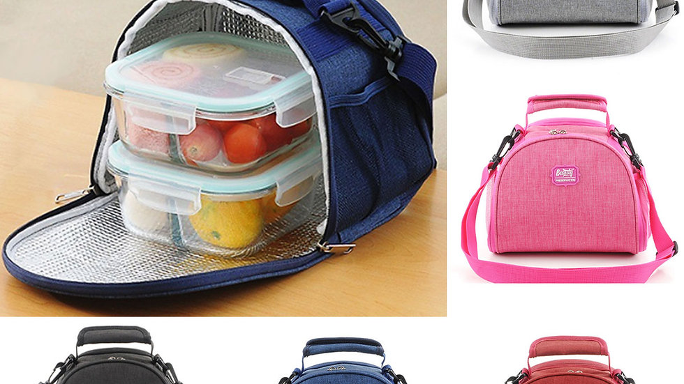 Waterproof Portable Insulated Lunch Bag Oxford Lunch Box Shoulder Bag