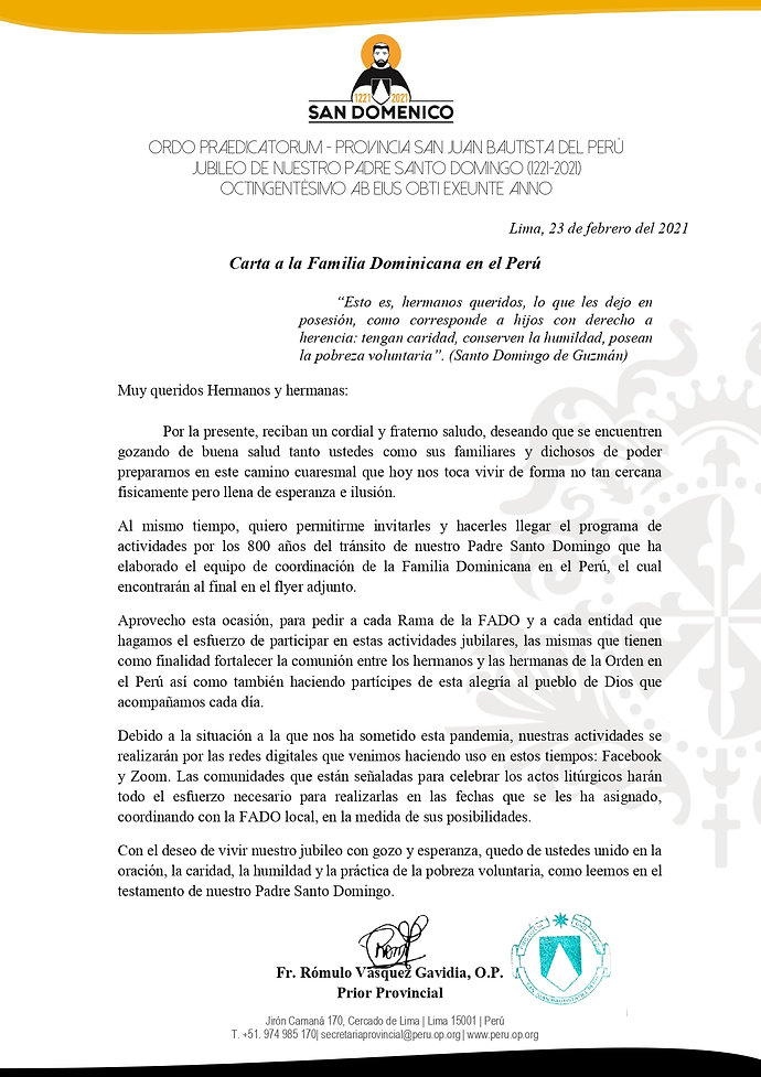 Carta a la Familia Dominicana Actividade
