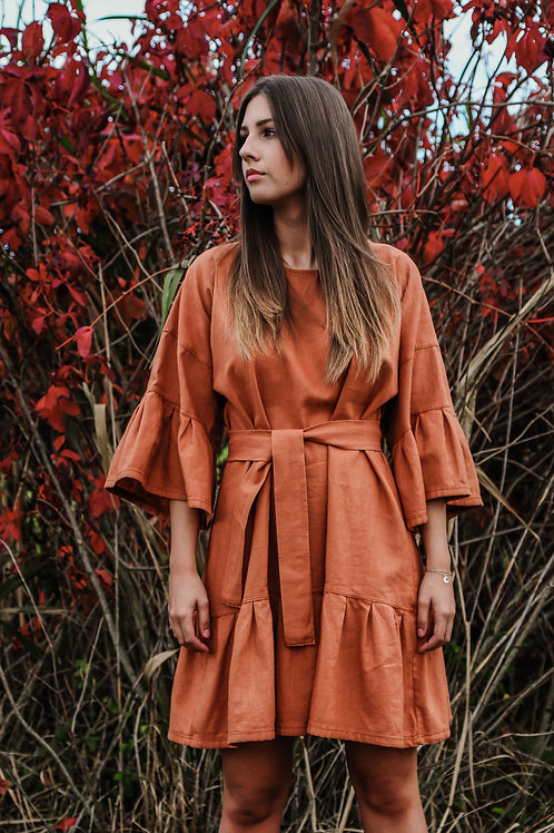 Lenvászon bow dress