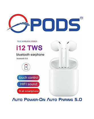 TWS i12 Bluetooth 5.0 Headphones Free Silicone Case Included