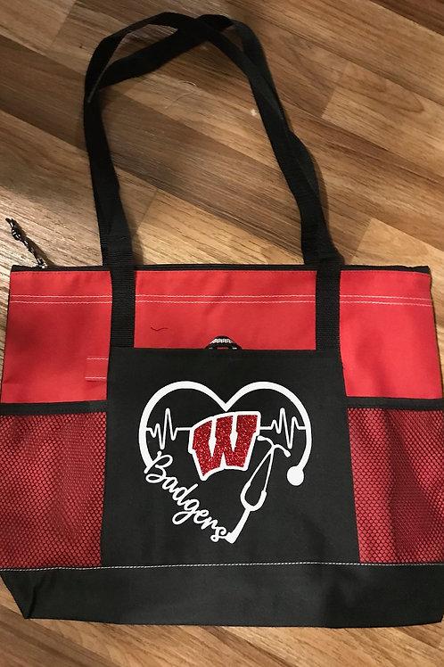 Badgers Red Large Zipper Tote Bag