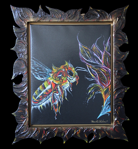 Flight of the Honey Bee - With Artist Created One of a Kind  Frame