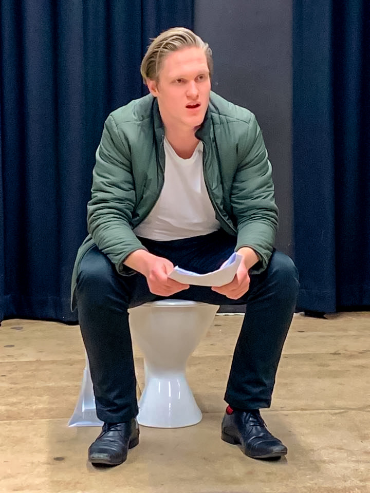 "Actor Austen Saunders rehearses ""Ensuite"" by Nigel Palfreman"