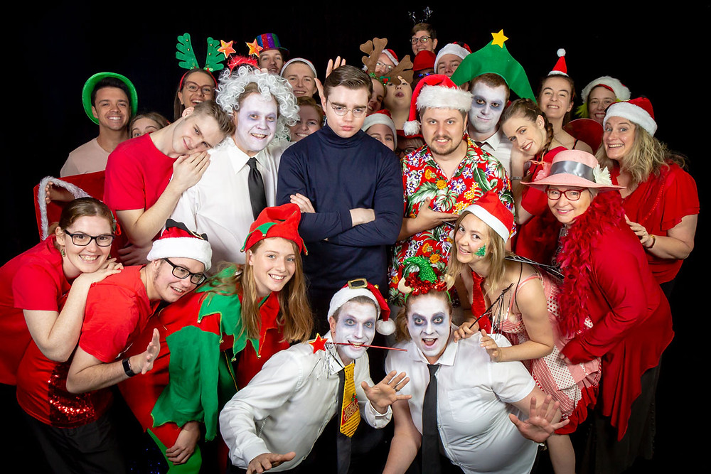 The cast of A Christmas Carol Goes Horribly, Terribly Wrong by Kirsty Budding (photo by Greg Gould)