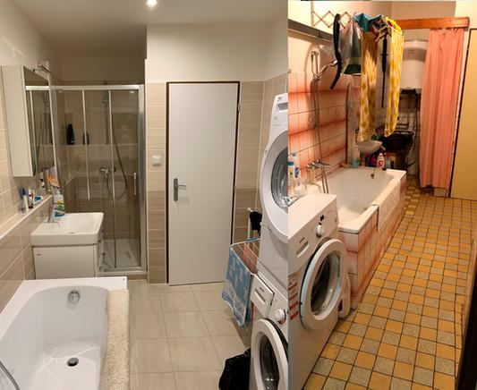 Šikovně vyřešená rekonstrukce koupekny.