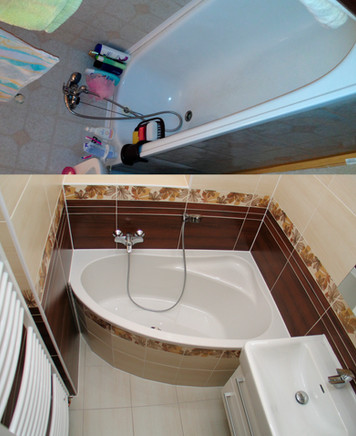 Zachování vany a přesto chytře vyřešené umístění zařizovacích předmětů na malém prostoru bytové koupelny.