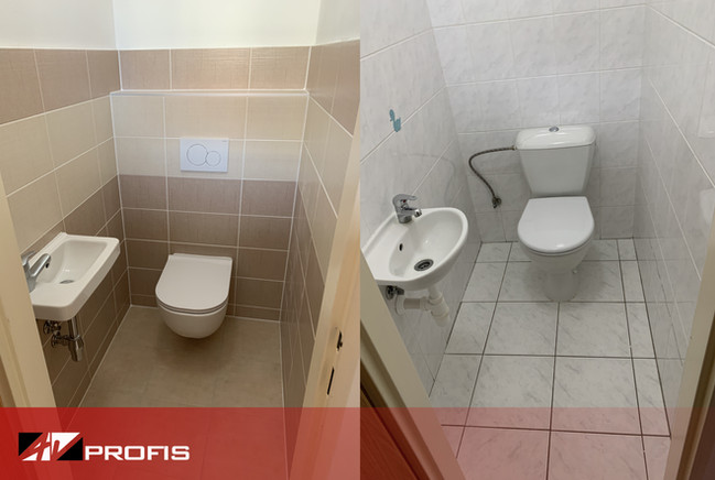 Rekonstrukce WC. Obklad Rako Textile.