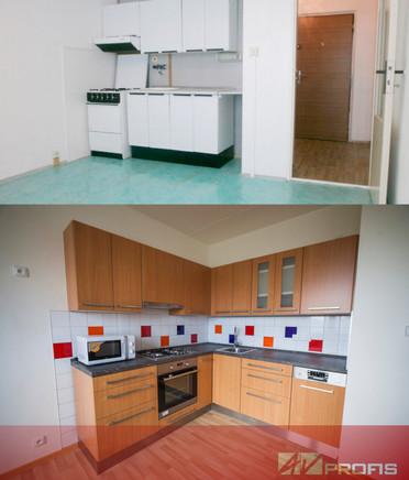 Rekonstrukce rohové kuchyňské linky v dekoru buku, kombinace barevného obkladu Rako.