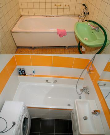 Proměna koupelny v betonovém jádře. Oranžový odstín.
