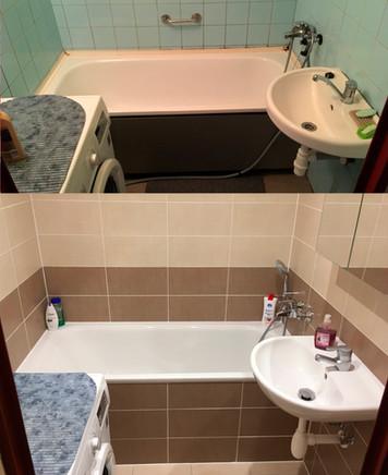 Rekonstrukce koupelny s vanou v teplém obkladu Textile.