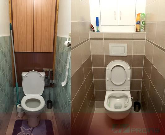 Proměna WC se zadní sádrokartonovou stěnou, která zakrývá modul Geberit k závěsnému WC.