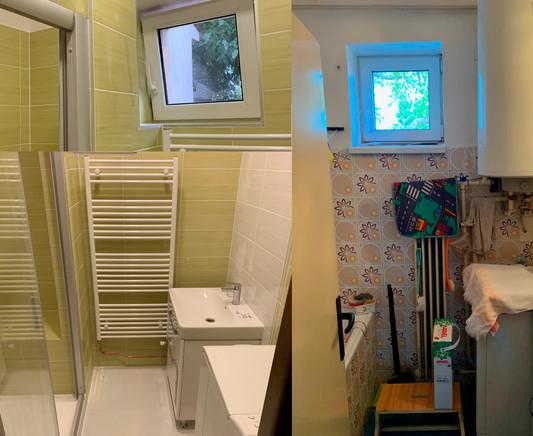 Rekonstrukce koupelny s šikovně vyřešeným oknem.