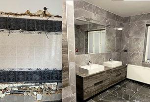 koupelna s obkladem imitace mramoru