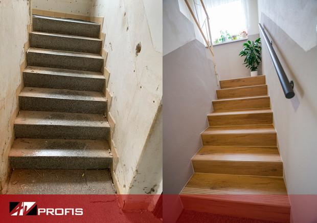 Rekonstrukce rodinného domu. Oprava starších schodů, nový obklad v dekoru dřeva.
