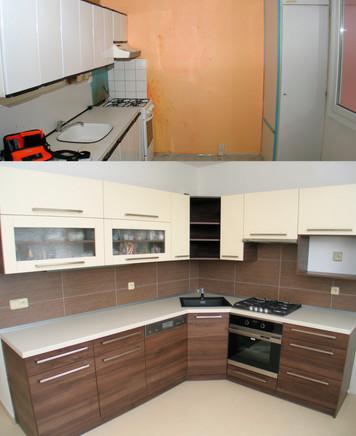 Proměna plechové kuchyně v umakartovém jádře na moderní rohovou kuchyň v nápaditém designu dvou barev.