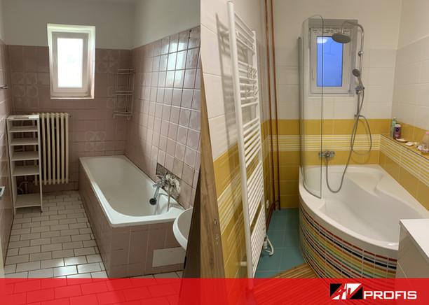 Rekonstrukce koupelny v rodinném domě. Barevný obklad Joy.