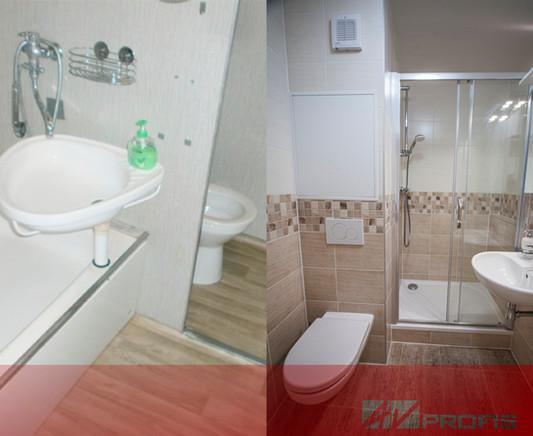 Rekonstrukce koupelny s WC s obkladem Rako Lazio.