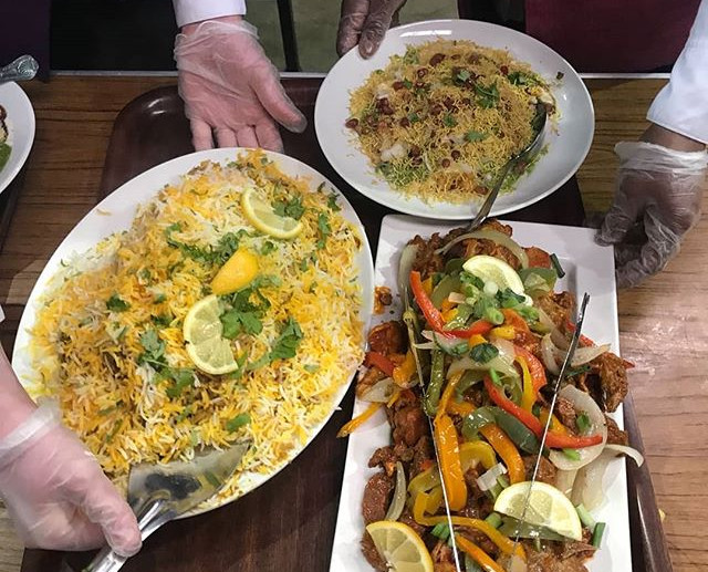 Papri Chaat, Mix grill and Lamb biryani