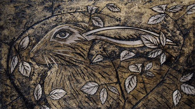 Hare in brambles