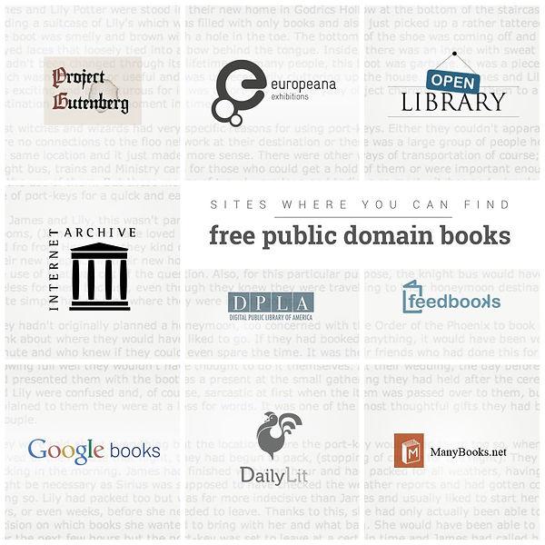 project gutenberg, internet archieve, goodgle books, feedbooks, ebook site.