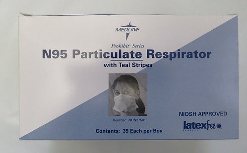 Medline N95 Particulate Respirator with Teal Stripes ~Qty of 210 NEW LatexFree