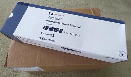 """Covidien Petrolatum Gauze Tube Foil 1/2i"""" X 72i"""" (09/19 Exp) 1 box (box of 6)"""